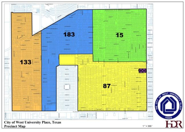 City of West University Place, Texas Precinct Map with precinct numbers and color codes