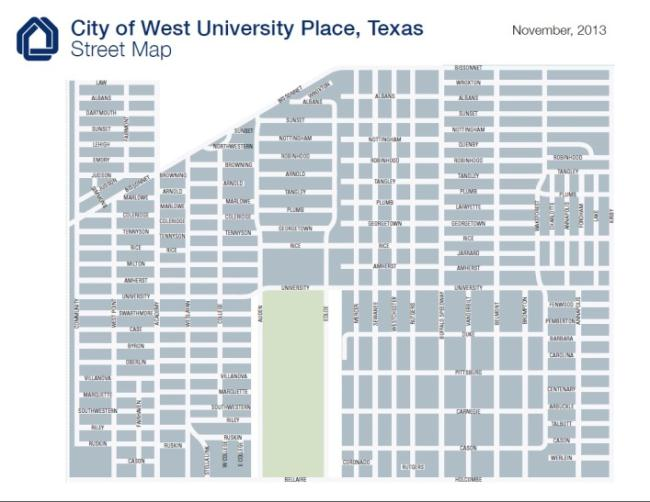 City of West University Place, Texas Street Map, November 2013