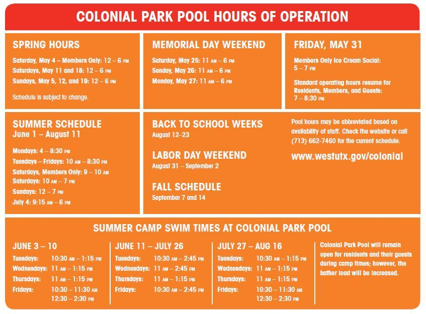 Colonial Park Pool 2019 Schedule
