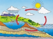 The water cycle - water from the ocean goes into the air by the sun then rains down onto the land