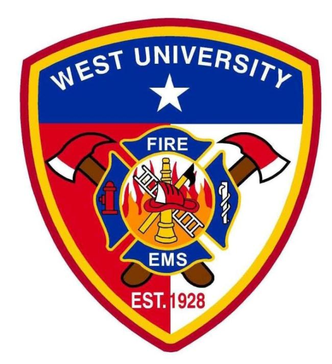 West University Fire and EMS established 1928 logo