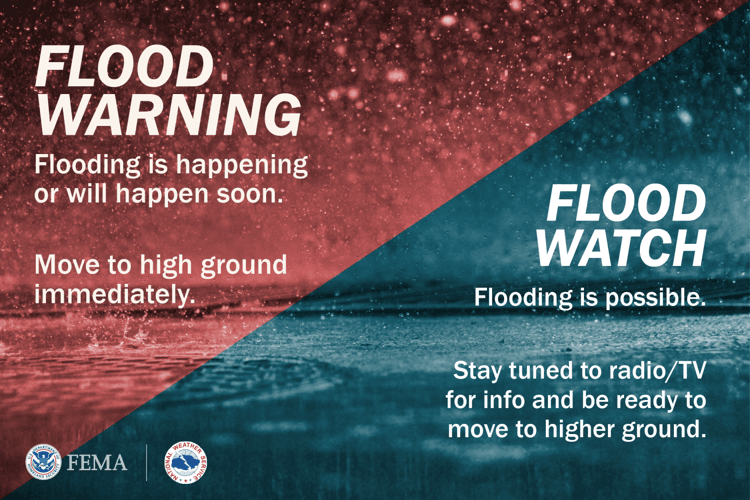 Flood Warning - flooding is happening or will happen soon. Move to high ground immediately. Flood Wa