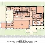Site plan drawing of the Colonial Park building