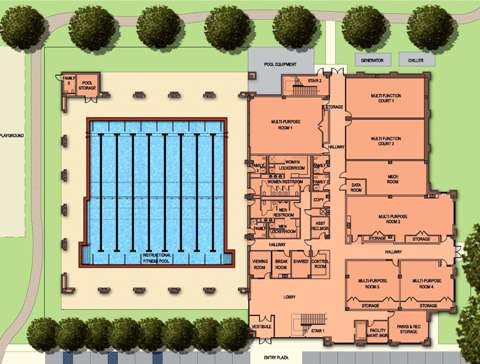 Site plan drawing of the West U Recreation Center 2nd floor