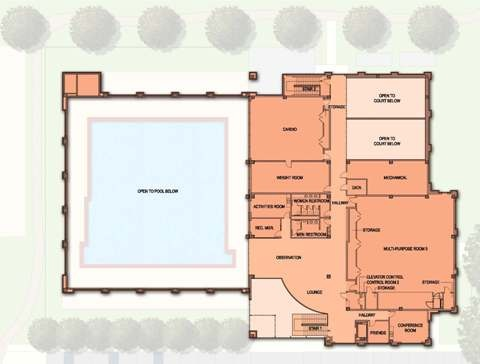 Site plan drawing of the West U Recreation Center 1st floor