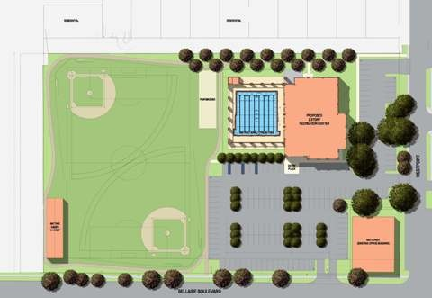 Site plan drawing of the West U Recreation Center